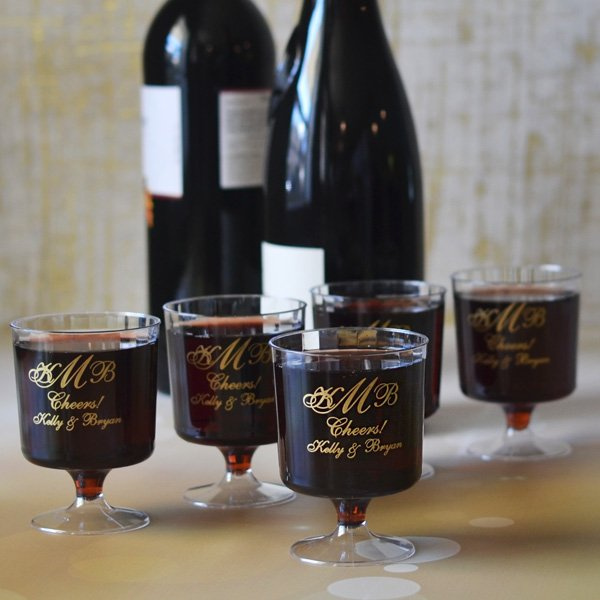 5 oz. custom printed plastic fluted wedding wine glasses printed with M-25 design, Royal lettering style, and Gold imprint