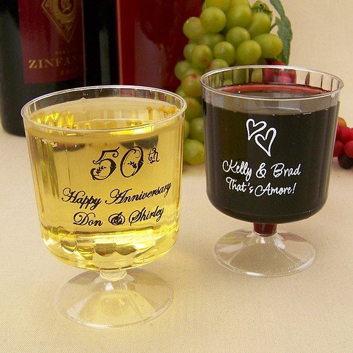 Personalized fluted plastic wine glasses printed with assorted design, imprint, and lettering style options
