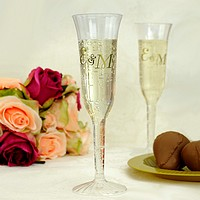 Personalized plastic party glasses, wine glasses and toasting flutes