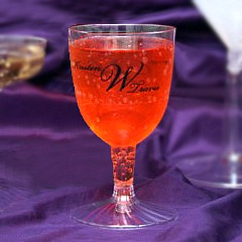 Personalized plastic wine glass printed with Black imprint color, M-31 monogram format, and monogram in Stylish lettering style