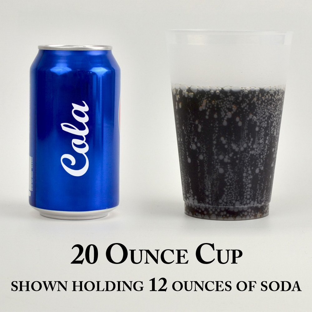 20 ounce frosted shatterproof cup shown holding 12 ounces of liquid