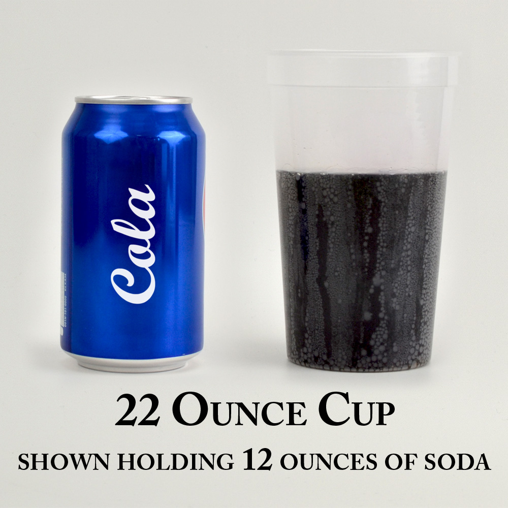 22 ounce plastic stadium cup shown holding 12 ounces of liquid