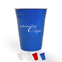Blue solo cups printed in white with the M-31 monogram in Bickham lettering style