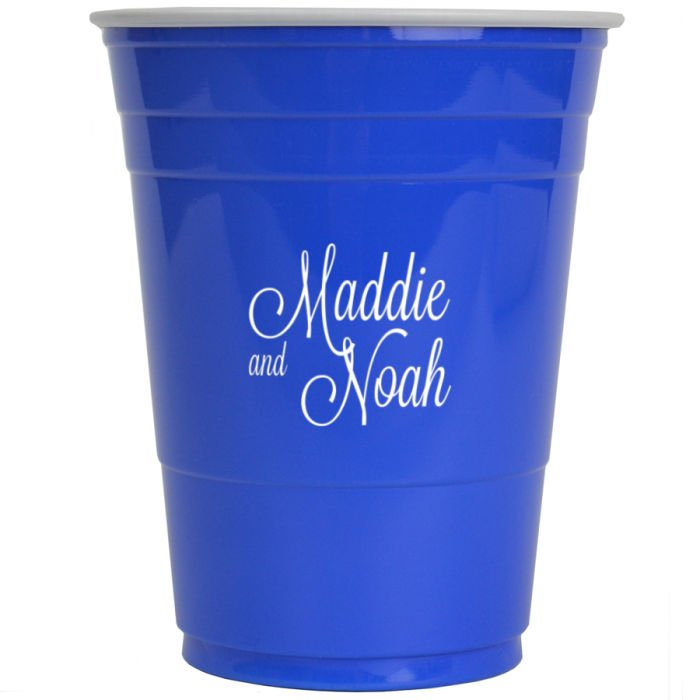 Blue solo cup personalized with M-54 monogram, Lovable lettering style, and White imprint color