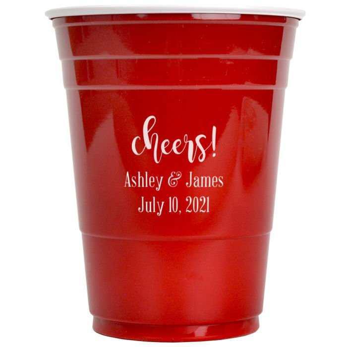 Red soft plastic solo cup personalized with WCH04 - Cheers Bold design, Handsome lettering style, and White imprint color