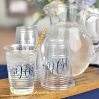 16 Oz. Personalized clear soft plastic cups for beer & soft drinks with 3-letter monogram in Navy imprint