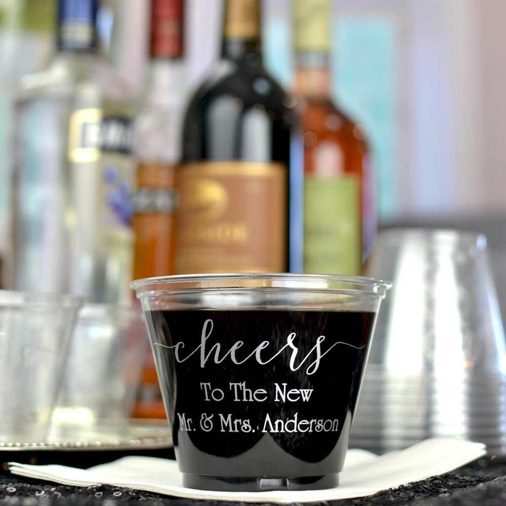 9 Oz. Personalized clear soft plastic mixed drink & wine cups
