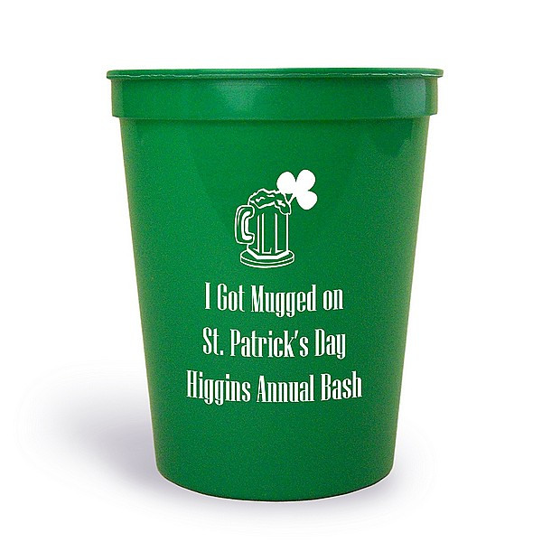 Green 16 oz stadium cup printed with IR1101 beer mug and shamrock design and Niagra letter style in White imprint color