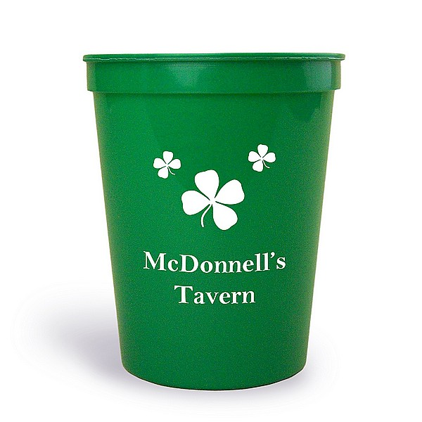 Green stadium cup printed with IR1100 Shamrocks design and Americana letter style in White imprint color