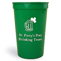 Green 22 oz stadium cup printed with IR1101 beer mug and shamrock design and Americana letter style in White imprint color