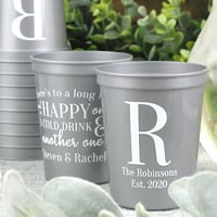 Personalized 16 Oz. plastic stadium wedding cups
