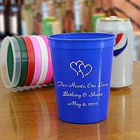 Personalized plastic stadium cups in assorted sizes and colors