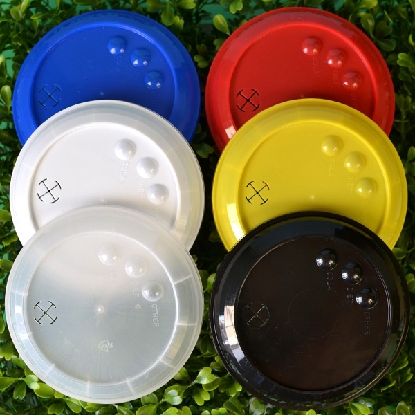32 Oz. Plastic Stadium Cup Lids in Assorted Colors