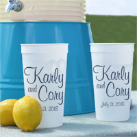 White 32 ounce stadium cups personalized with bride and groom's name and wedding date