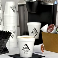 Personalized 10 ounce styrofoam cups printed with black imprint, Adorable lettering style, and M-56 monogram style