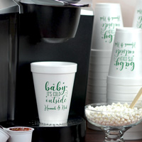12 ounce styrofoam cup printed with Wispy lettering style, CS1115 design, and Forest Green imprint color