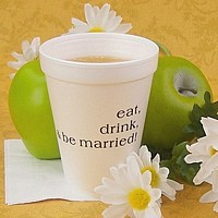 Personalized styrofoam coffee cups in assorted sizes and custom printed ceramic coffee mugs