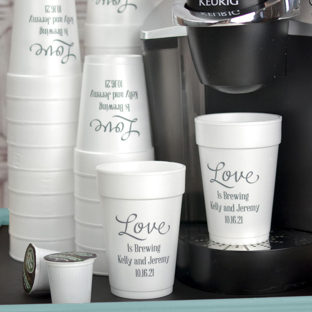 14 oz Styrofoam cup printed with WLV01 design, Handsome lettering style, and Dark Grey imprint color