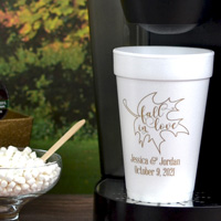 Personalized styrofoam cups printed with Gold imprint, F0008 design, and two lines of print in Handsome lettering style