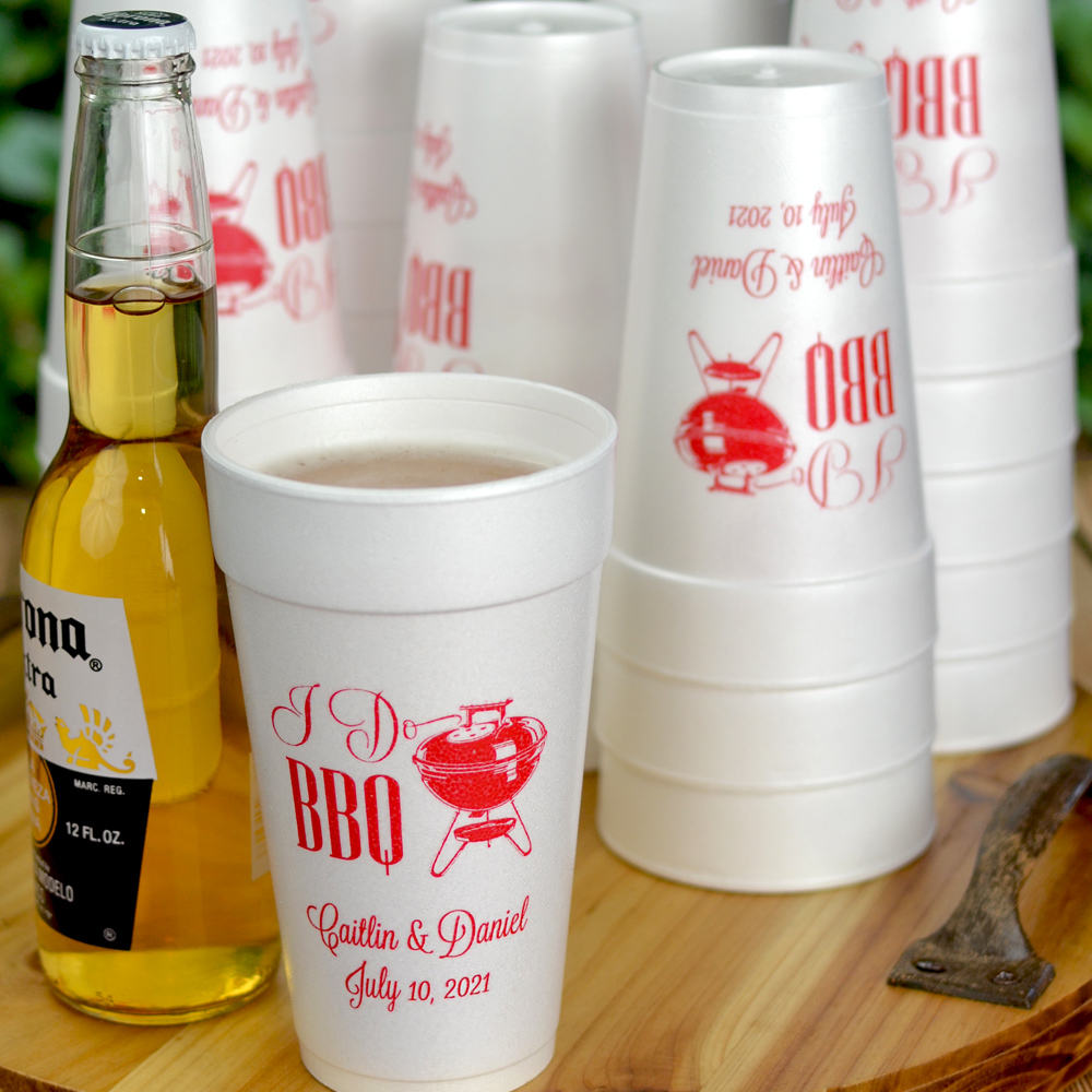 Personalized styrofoam cups printed with Red imprint color, I Do BBG design, and text in Lovable lettering style
