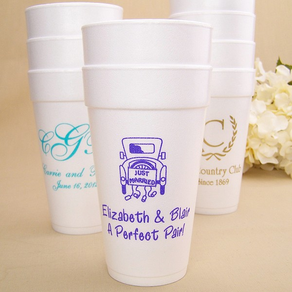 20 oz styrofoam cups personalized with assorted design, monogram, and imprint color options