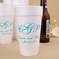 Personalized styrofoam party cups in assorted sizes