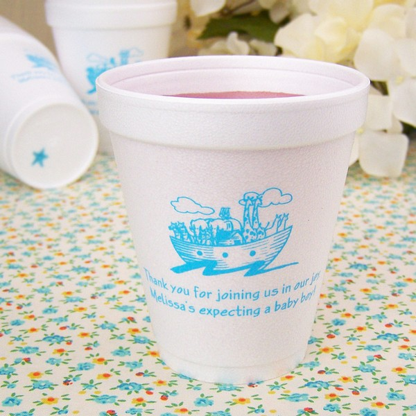 8 ounce styrofoam cups printed with Light Blue imprint color, 1179 baby design, and two lines of print in Enviro lettering style