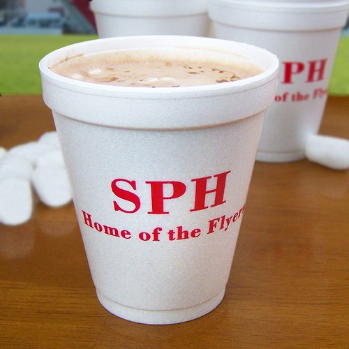 Personalized 8 oz styrofoam cup printed with Dark Red imprint color, M-29 monogram format, and 1 line of print all in Bodoni lettering style