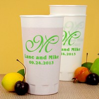 20 ounce thin-wall foam cups printed in Lime imprint color with monogram format M-35 and an additional line of text for the wedding date.
