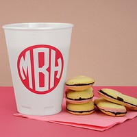 12 ounce thin-wall foam cups printed with monogram format M-45 and Hot Pink imprint color