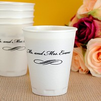 10 ounce thin-wall foam cups printed with black imprint color, bickham letter style, and scroll design E-03 printed beneath line 1