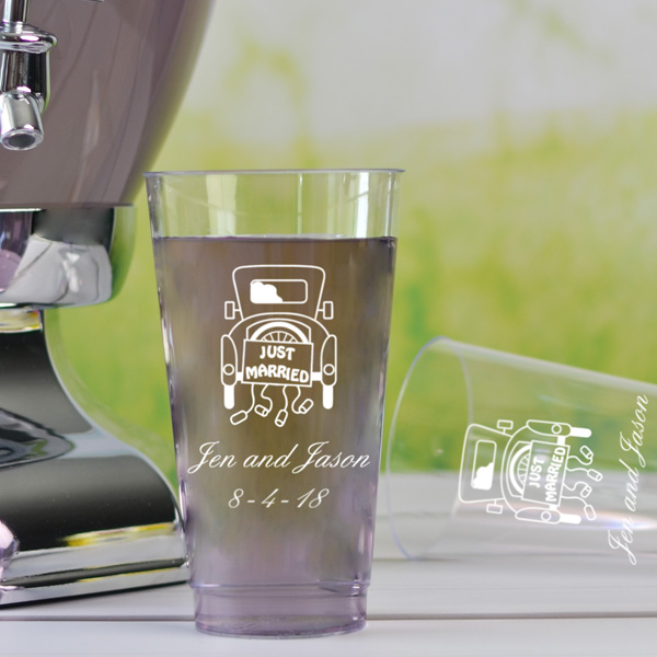 16 oz personalized plastic cups printed with white imprint color, Stylish lettering style, and 1193 design