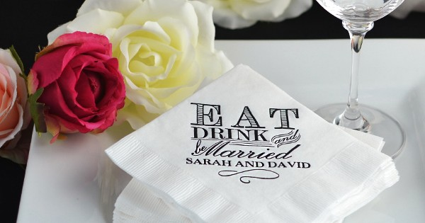 Personalized Eat, Drink, and Be Married Cocktail Napkins