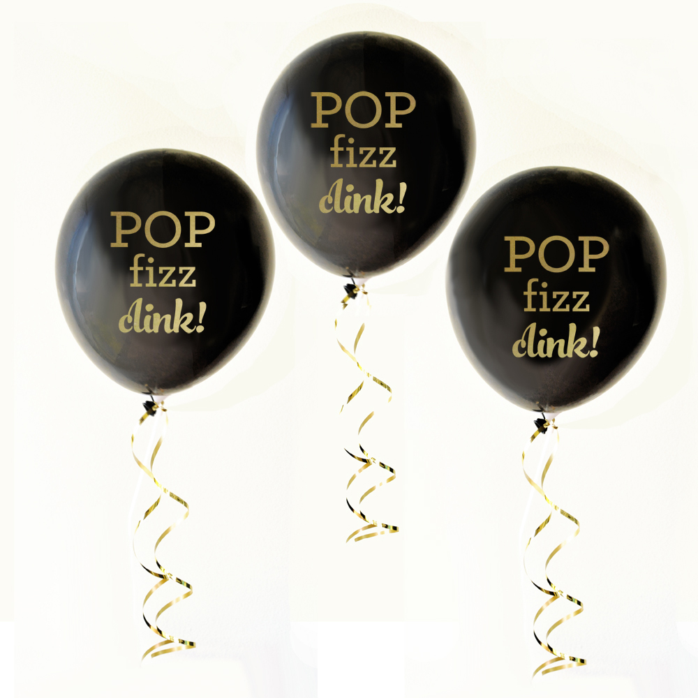 "Black & Gold Pop Fizz Clink Balloons are just the extra décor you need to celebrate an engagement, bachelorette party, bridal shower, or New Year's Eve event. Each set comes with three balloons reading ""POP fizz clink!"" printed in metallic gold ink."