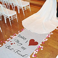 Classic aisle runner reads: 'Today I Marry my Best Friend'