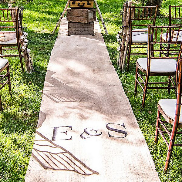 24 Outdoor Wedding Decoration Ideas: 50 Foot Personalized Burlap Aisle Runner
