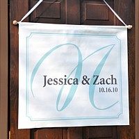 Custom Printed Banner with Elegance Design and Aqua Background Color
