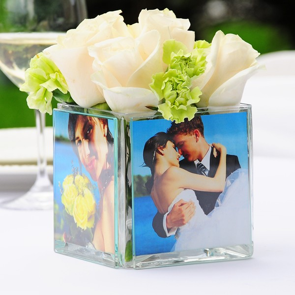 Square glass photo centerpiece vase