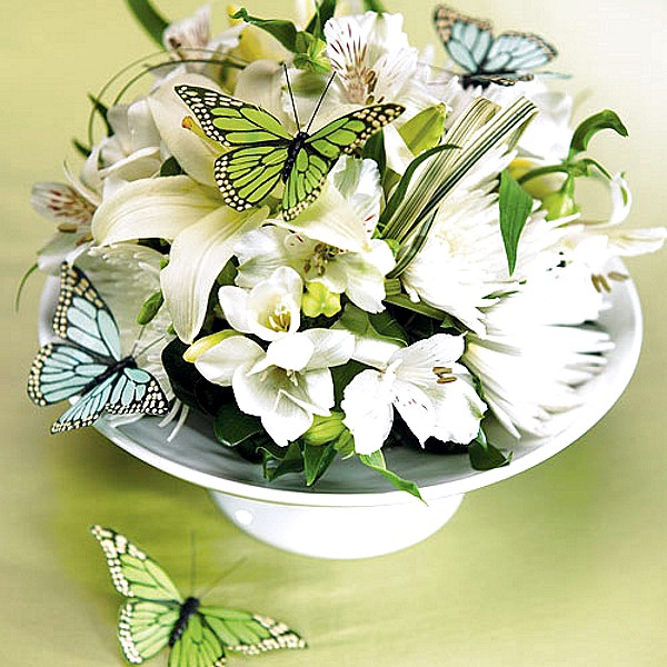 Green and aqua blue hand painted butterfly decorations