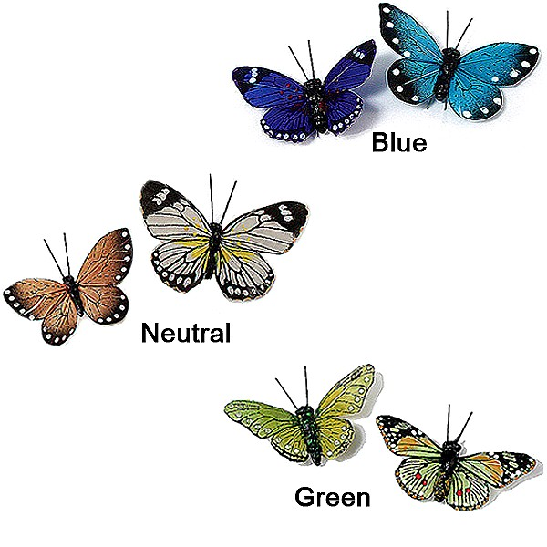 Choose from three color options for your set of butterflies including neutural, green, and blue