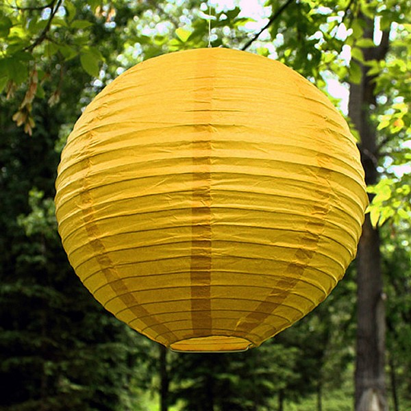 12 inch small round paper lanterns shown in lemon yellow