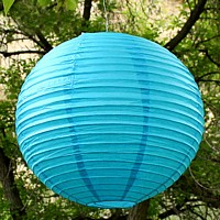 16 inch small round paper lanterns shown in caribbean blue