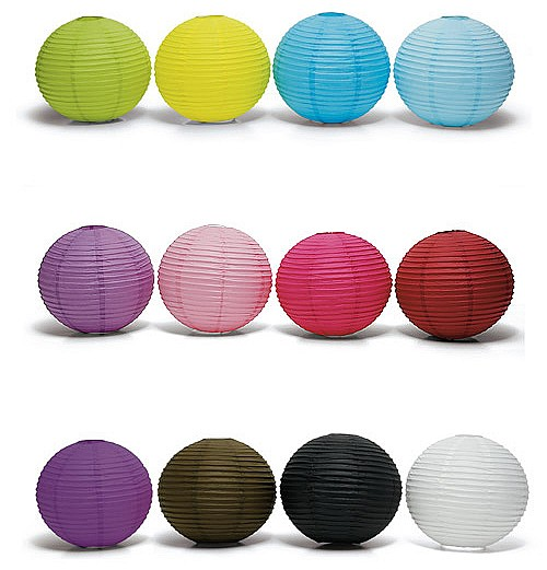Round paper lanterns in assorted color options