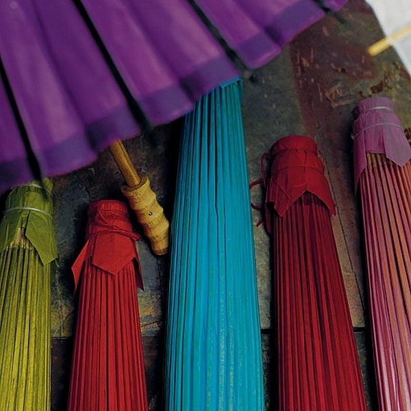 Paper wedding parasols in assorted colors