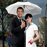 Wedding umbrella in black or white with 'Just Married' embossed on the wooden handle