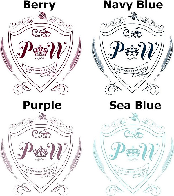 Monogram crest for regal photo backdrop in berry, navy blue, victorian purple and sea blue colors