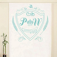 Photo backdrop personalized with sea blue monogram crest