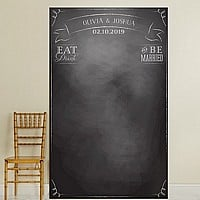 Black chalkboard background photo backdrop with Eat, Drink, and Be Married phrase and bride and groom's name and wedding date