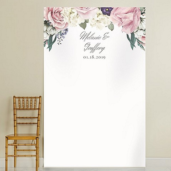 White background photo backdrop with pink and white roses design personalized with 3 lines of custom print