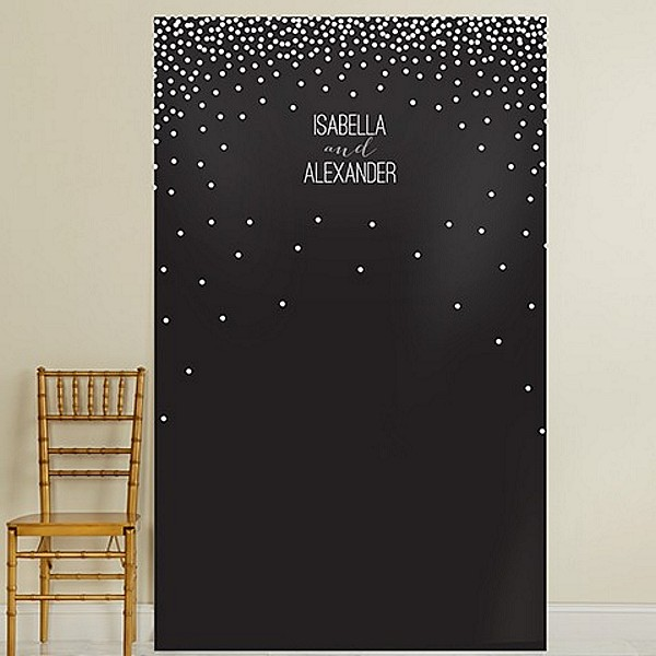 Black  background vinyl photo backdrop with white dot stars personalized with 2 lines of custom print